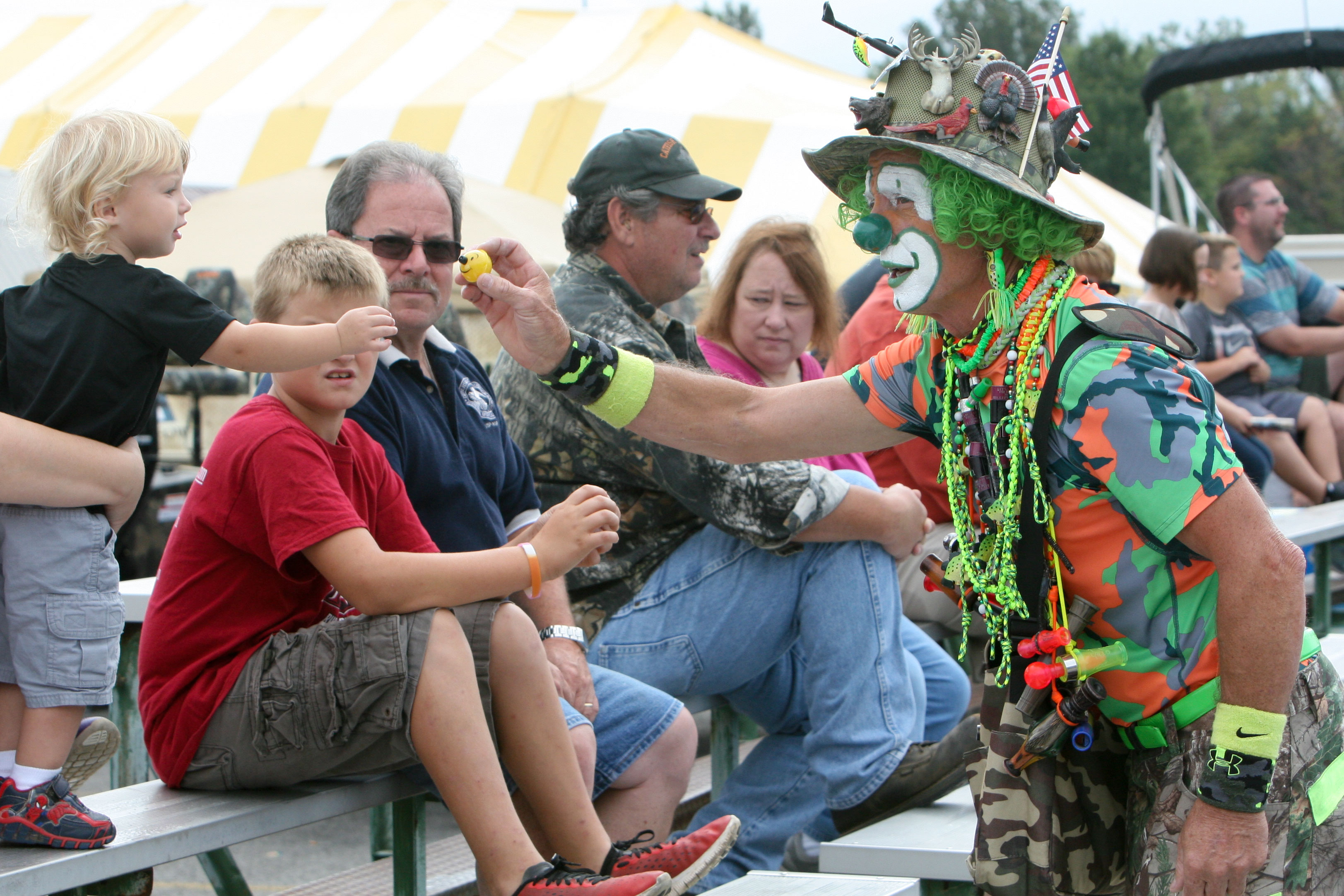 Camo the Clown entertains the crowd.