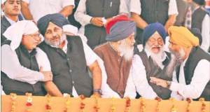 BJP leader and Punjab industries minister Madan Mohan Mittal, deputy CM and SAD president Sukhbir Badal, CM Parkash Singh Badal, SGPC chief Avtar Singh Makkar and the SAD's Anandpur Sahib Lok Sabha candidate Prem Si