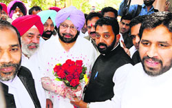 Supporters greet Capt Amarinder Singh in Amritsar