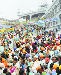 A file photo of gathering on a holy occasion at Anandpur Sahib.