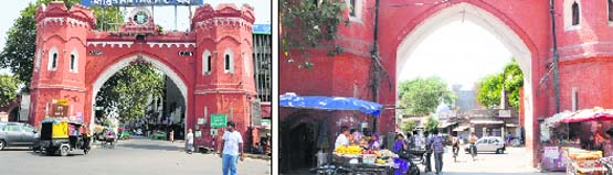 A view of the Hall gate in Amritsar which is maintained properly. (left) and A view of the Khajanawala gate in Amritsar.