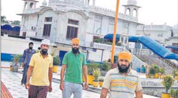 Devotees at Gurdwara Chhevin Patshahi in Kurukshetra on Monday.