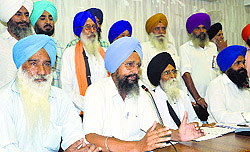 Members of the SAD (A) address the media in Ludhiana.