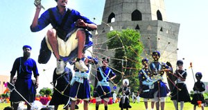 Youngsters perform Gatka on the birth anniversary of Baba Banda Singh Bahadur at Chappar Chiri, Mohali,