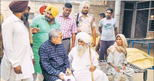 MP Dr Dharamvira Gandhi at Marori village near Samana in Patiala.
