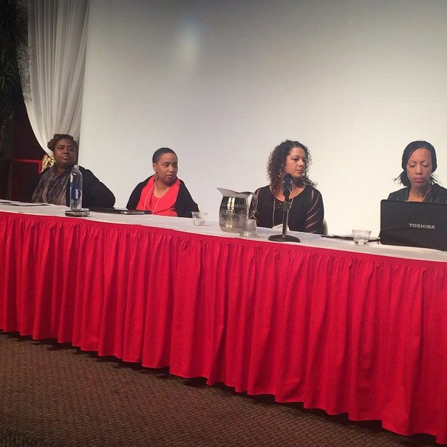 """January Black Life Matters Conference panel on """"Black Women and Violence"""" at the University of AZ with Farah Tanis, Aishah Shahidah Simmons, Claudia Powell, Sikivu and Stephanie Troutman (not pictured)."""