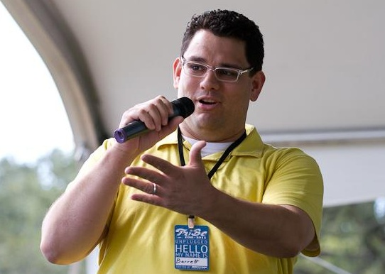 Barrett Conrad introducing a speaker at TribeCon, 2011. Picture taken by Taylor Davidson, all rights reserved.