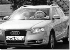 english driver with muppet in passenger seat caught on german traffic cam