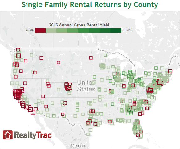 San Francisco Bay Area Counties Top Worst Rental Yields In US - Us property yield map