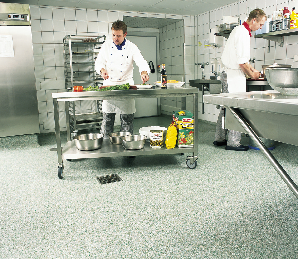 types of kitchen flooring kitchen floors Flake type of kitchen flooring with chefs cooking