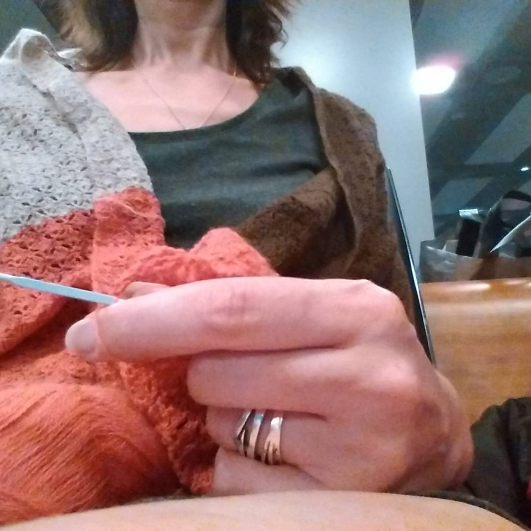 Some airport knitting from last night, while using my WIP to keep me warm