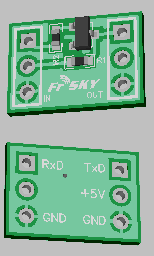 Level shifter for Naze32 to Frsky receiver by Timecop.