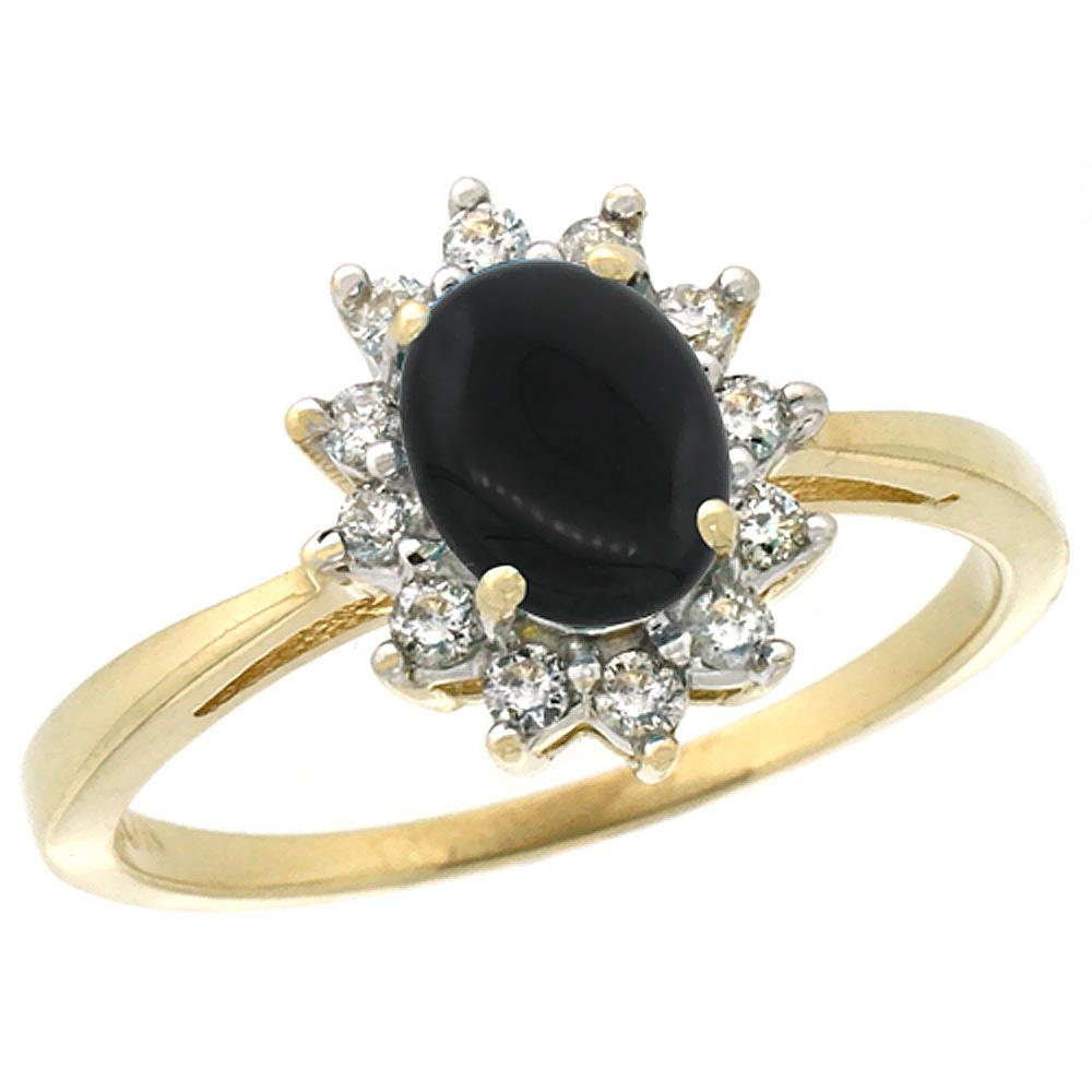 Black Onyx c black onyx wedding ring 14K Yellow Gold Natural Black Onyx Engagement Ring Oval mm Diamond Halo sizes 5