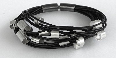 887 - Large Silver Tubes On Leather Bracelet