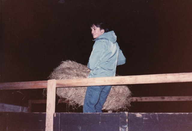 Working as park naturalist, circa 1985. Preparing for a hay ride for campers.
