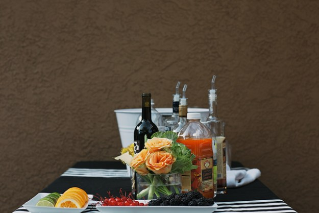 party bar with garnishes