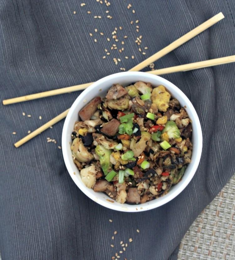 Fried Quinoa and Cauliflower Rice Bowl