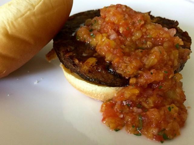 Fresh Peach Salsa with gardein Vegan Gluten Free Black Bean Burger - Simple Sojourns