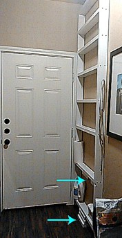 Tutorial on building pantry shelves for small wall space behind doors.
