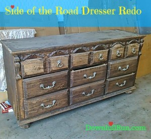 Here's the dresser from the side of the road that I started with.