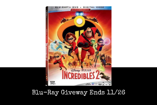 Incredibles 2 Blu Ray giveaway