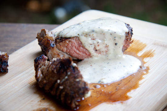 Creamy pepper sauce on steak