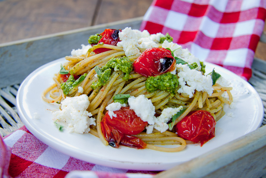 Pasta with Roasted Cherry Tomatoes, Ricotta and Pesto