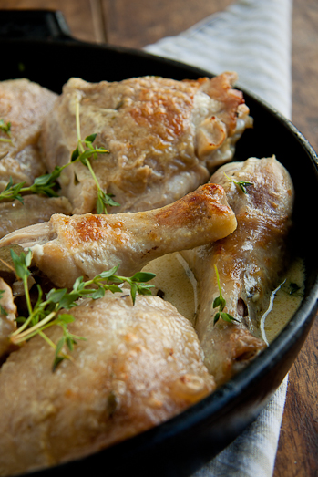 Chicken braised in white wine and cream
