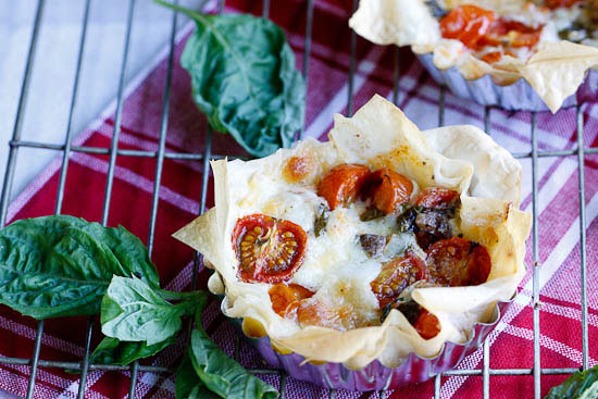 Crispy Phyllo tarts with tomatoes, mozzarella & anchovies