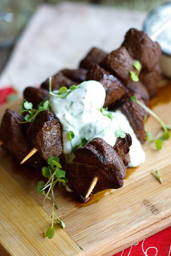 Ostrich Kebabs with Feta & Herb sauce