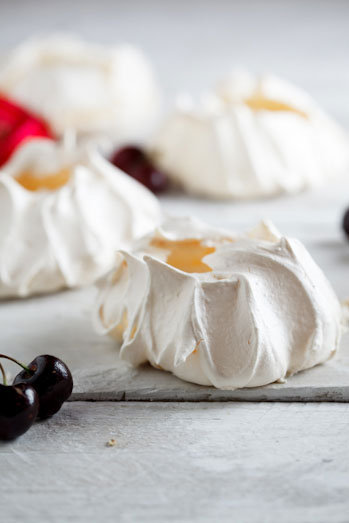 Festive pavlovas with berries