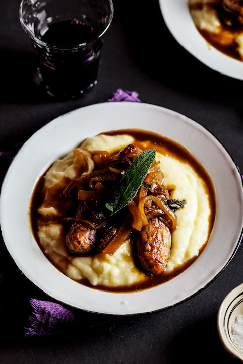 Sage-roasted pork sausages on mash with the ultimate onion grav