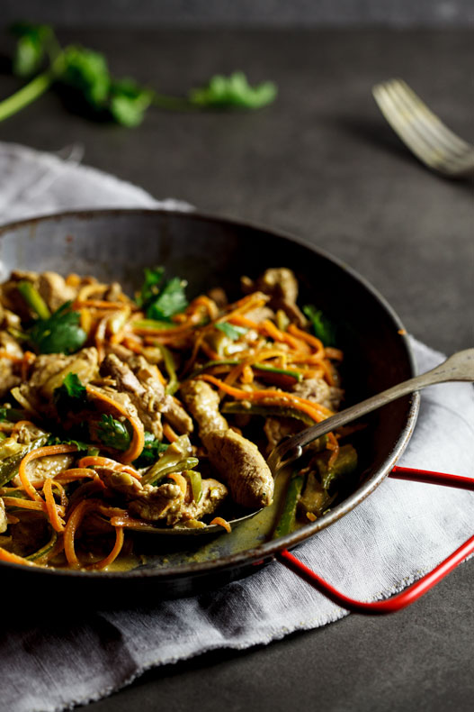 Pork green curry stir fry