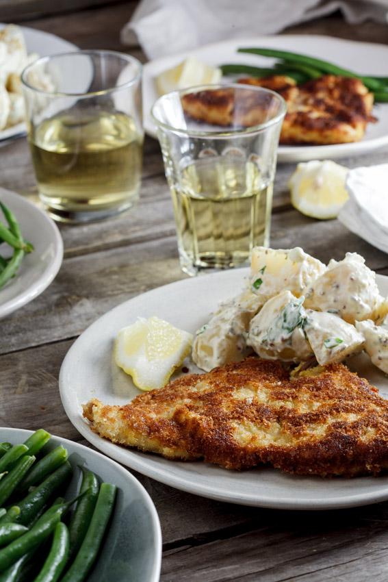 Pork schnitzel with warm potato salad