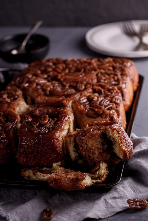 Sticky cinnamon buns with pecan nuts