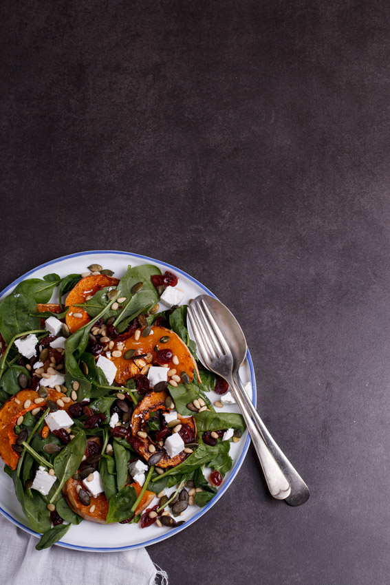 Roasted butternut salad with danish feta and cranberries