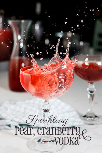 sparkling pear, cranberry and vodka