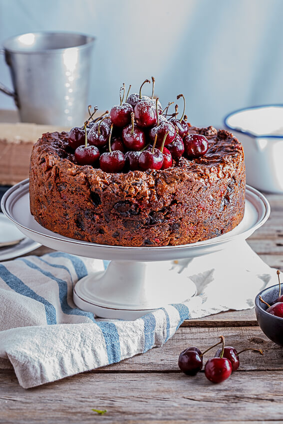 Fruit cake with salted maple syrup