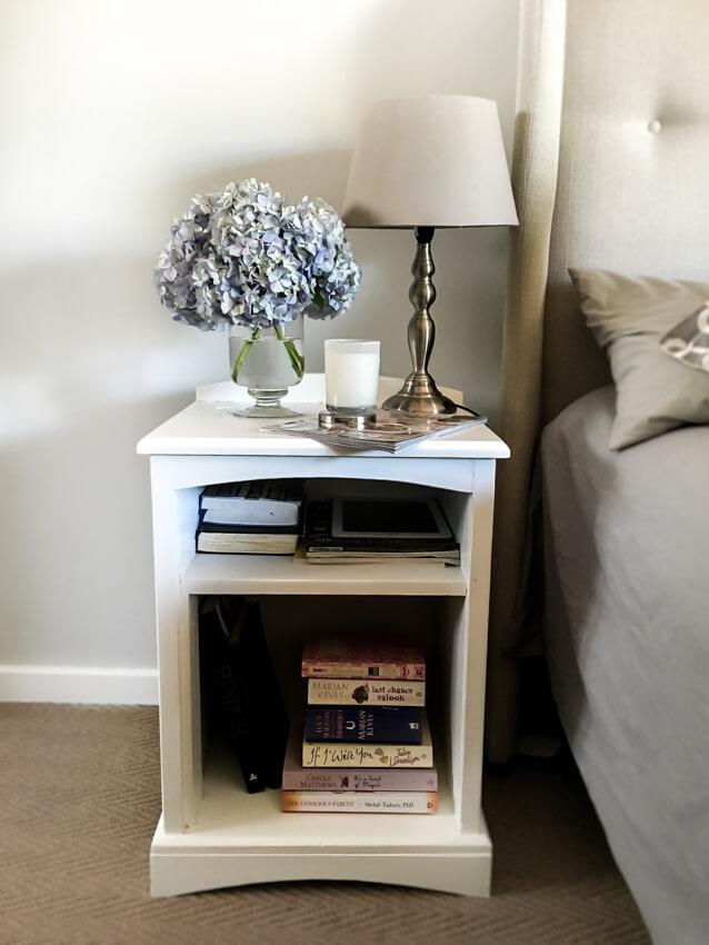 Hydrangeas on nightstand