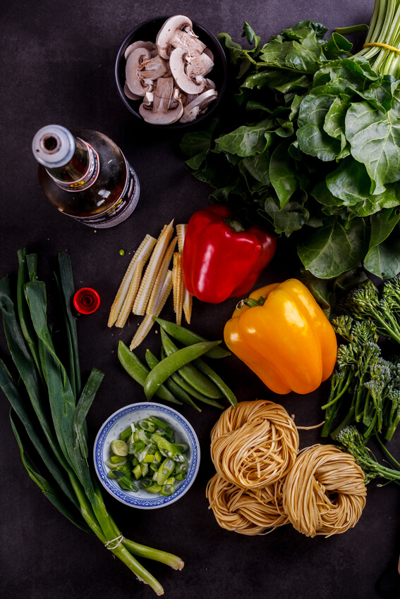 Ingredients for vegetable chow mein