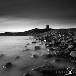 dunstanburgh castle balck and white