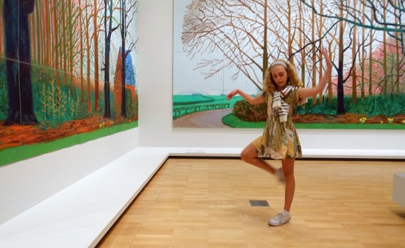 Young girl in front of Hockney's: Bigger Trees near Warter