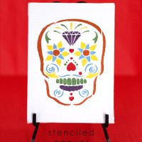 Sugar Skull Stenciled Canvas