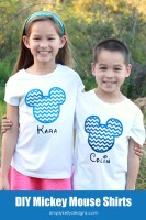 DIY Chevron Mickey Mouse Shirt with Glitter HTV
