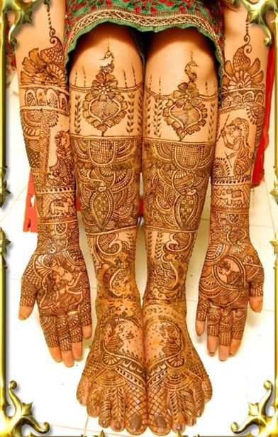 dulhan mehndi design for hand and feet
