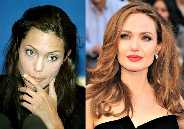 comparision of the angilina jolie with or with out makeup
