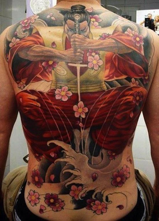 amazing samurai colored tattoo
