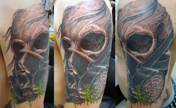skull gas tattoo for females