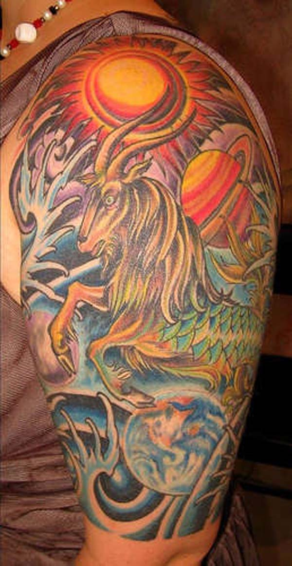 capricorn tattoo for sleeveless