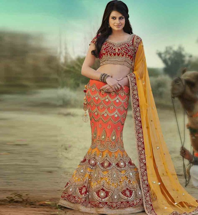fish cut bridal lehenga